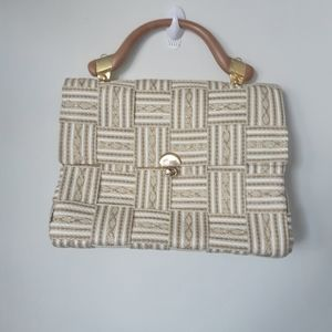 Gold and White Woven Top Handle Bag